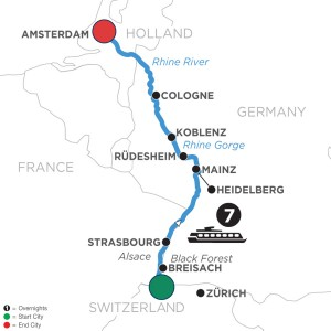 Map for 2020 Rhine River Cruise with Diana Gabaldon