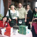 With readers in green Scots attire.