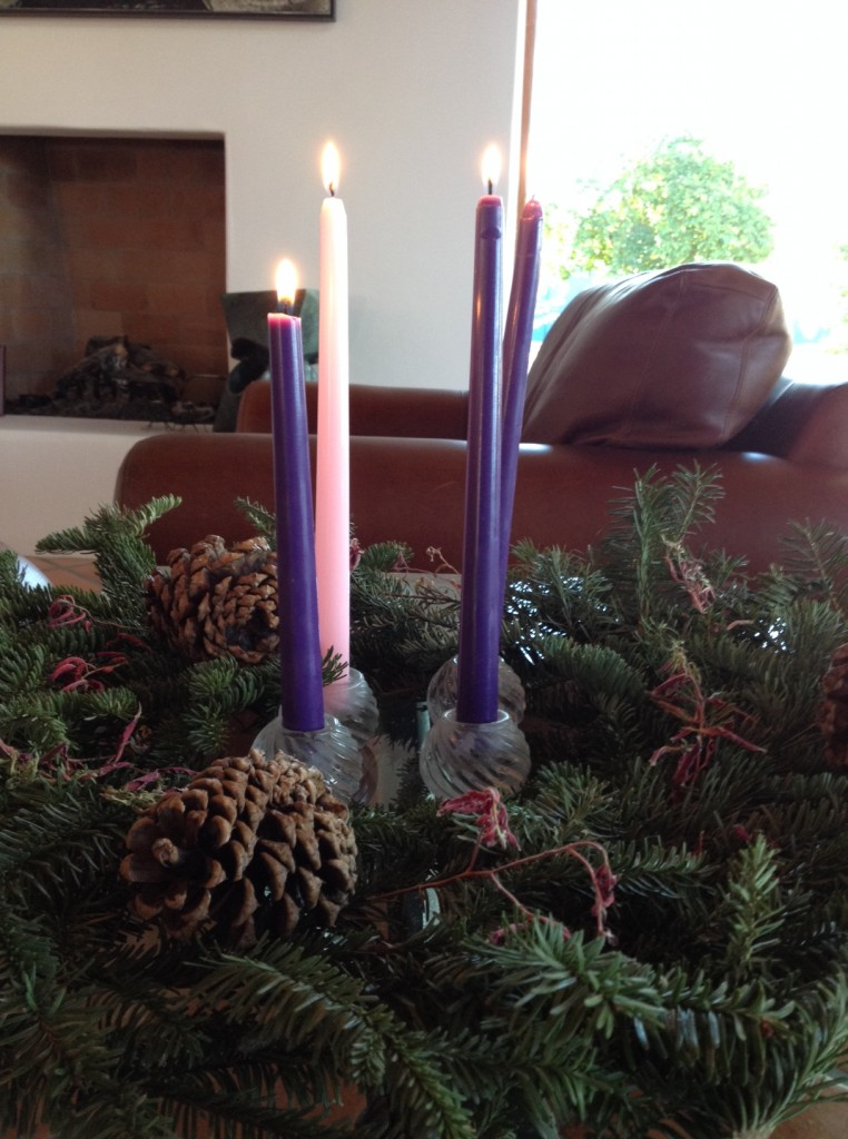 Advent wreath four candles in daylight 2013