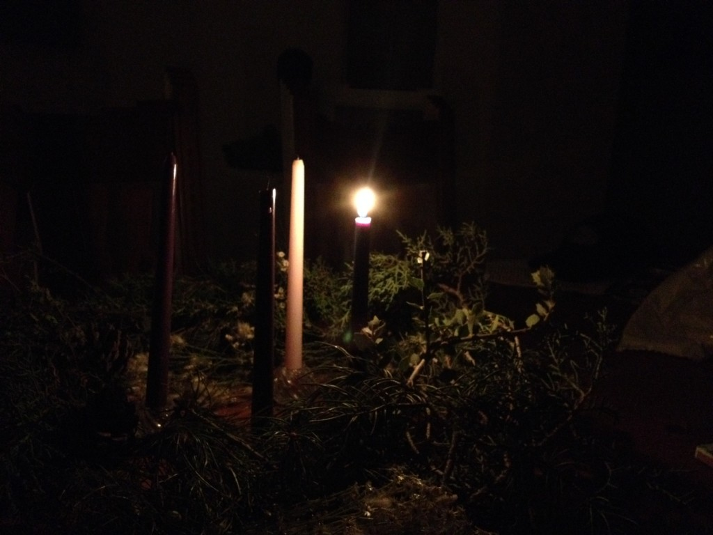 Advent wreath 2014 - 1 candle lit