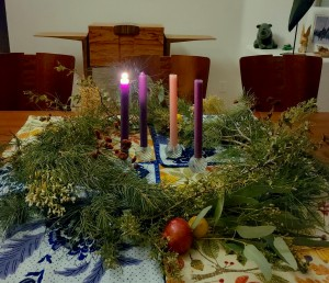 Advent candles for first Sunday. From Diana Gabaldon.